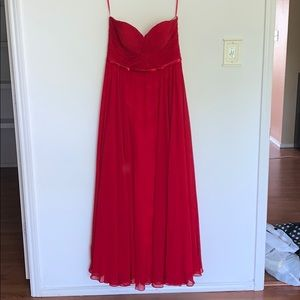 Red strapless prom or bridesmaid dress
